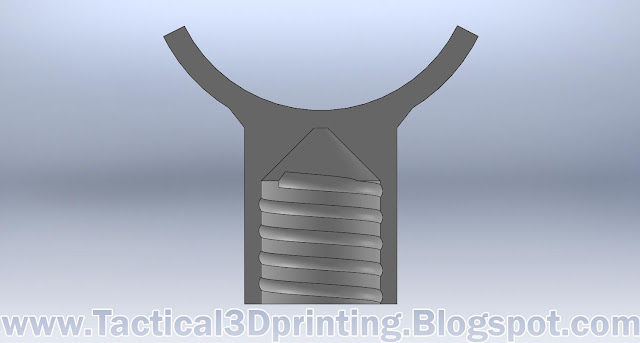 3D Printing a Rifle Stabilizer CAD Drawing Part Solidworks Cross Section