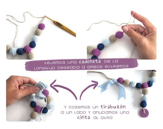 PUNTXET DIY Collar de lactancia de ganchillo #DIY #tutorial #crochet #ganchillo #handmade #bebes #babies