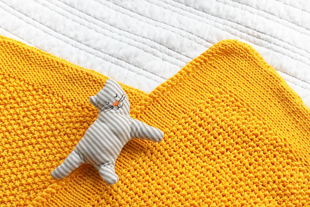 włóczka rodzicielstwo kocyk żółty