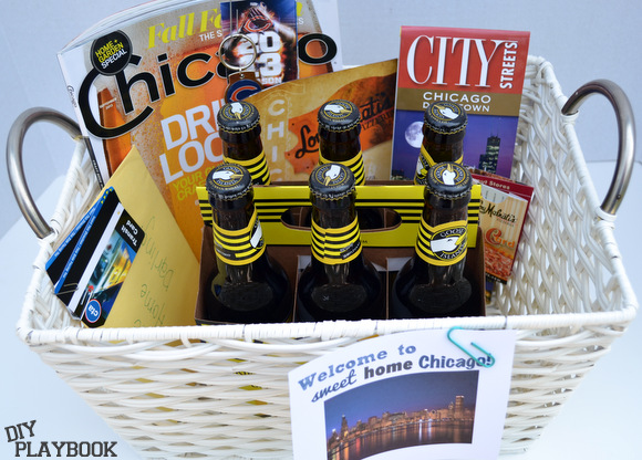 This Chicago themed basket is easy to put together and makes for a great gift.