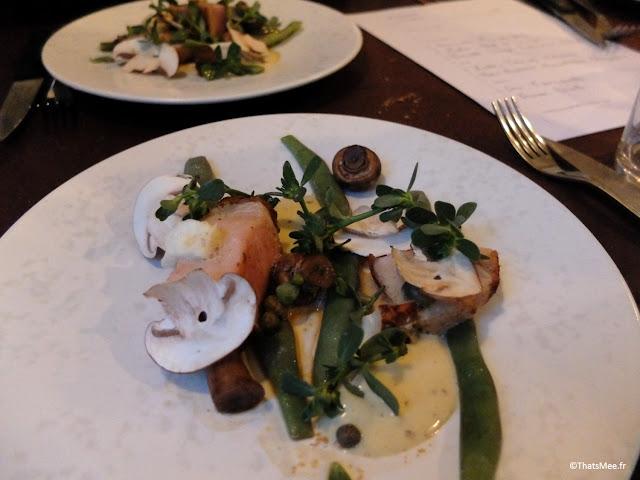 resto bistronomique menu 7 plats le galopin Paris 10eme romain tischenko top chef, plat porc basque haricots champignons