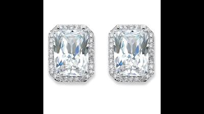 Huge Emerald-Cut CZ Stud Earrings
