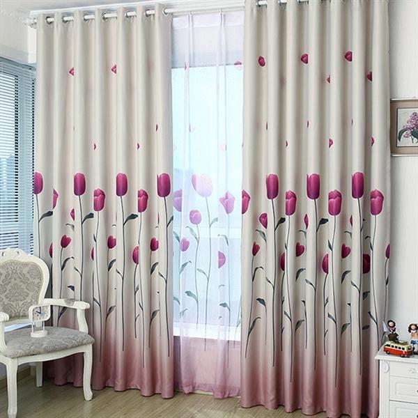 Room Darkening Curtain Custom Tulip Pattern Polyester & Cotton Window Treatment - 618 ( One Panel )