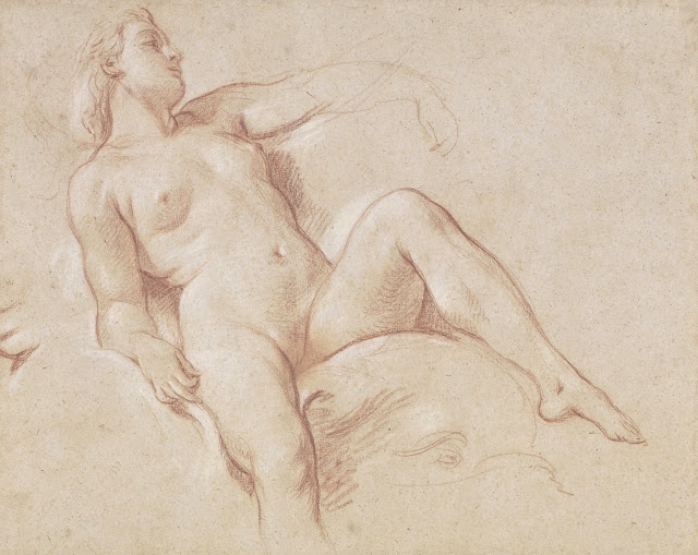 Francois Boucher - Donna distesa sopra un delfino - sex drawing - erotismo