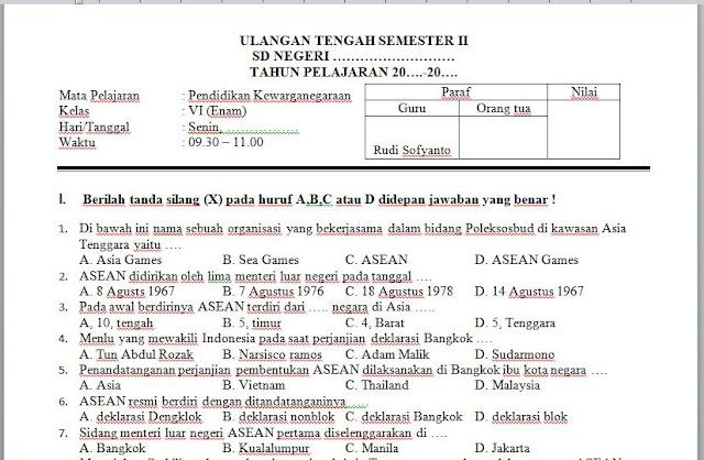 Soal UTS PKn Kelas 6 (VI) Semester 2 (II) SD, http://bloggoeroe.blogspot.com
