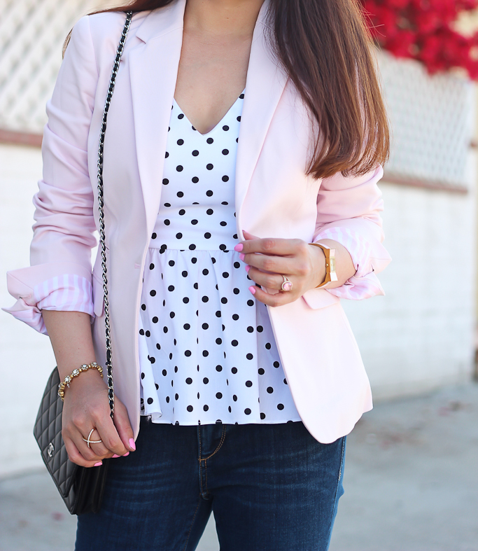Ann Taylor modern super skinny ankle jeans, Chanel wallet on chain WOC, Kate Spade bow watch, Mason pave ring, Polka dot peplum tank, Vince Camuto One-Button Stretch Cotton Pink Blazer