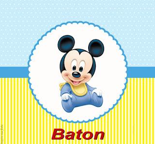 Etiquetas de Mickey Bebé en Celeste y Amarillo para imprimir gratis.