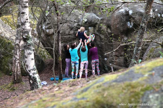 Le dévers, 4+, Rocher Canon, Fontainebleau. Greg Clouzeau