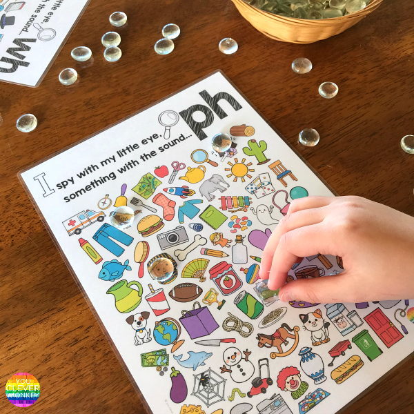 Printable Digraph Activities for /ph/ sound - sound mazes in colour and black and white plus I Spy game | you clever monkey