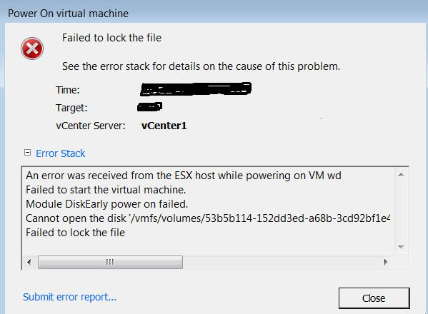 Unable to poweron the VM  (Failed to lock the file)