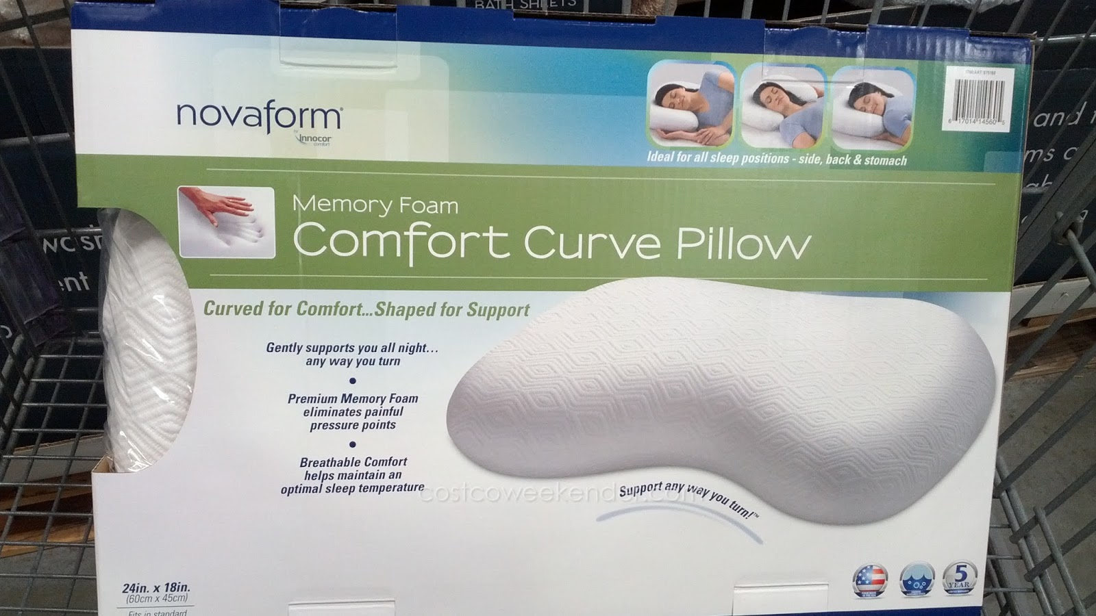 Novaform Memory Foam Comfort Curve Bed Pillow Costco