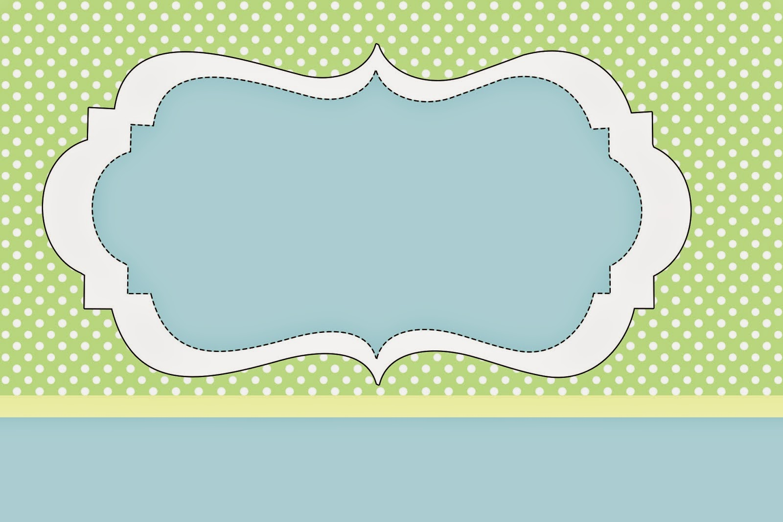 Green and Light Blue Free Printable Invitations, Labels or Cards.