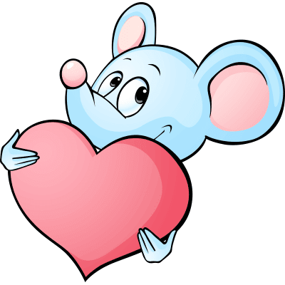 Mouse emoji with heart