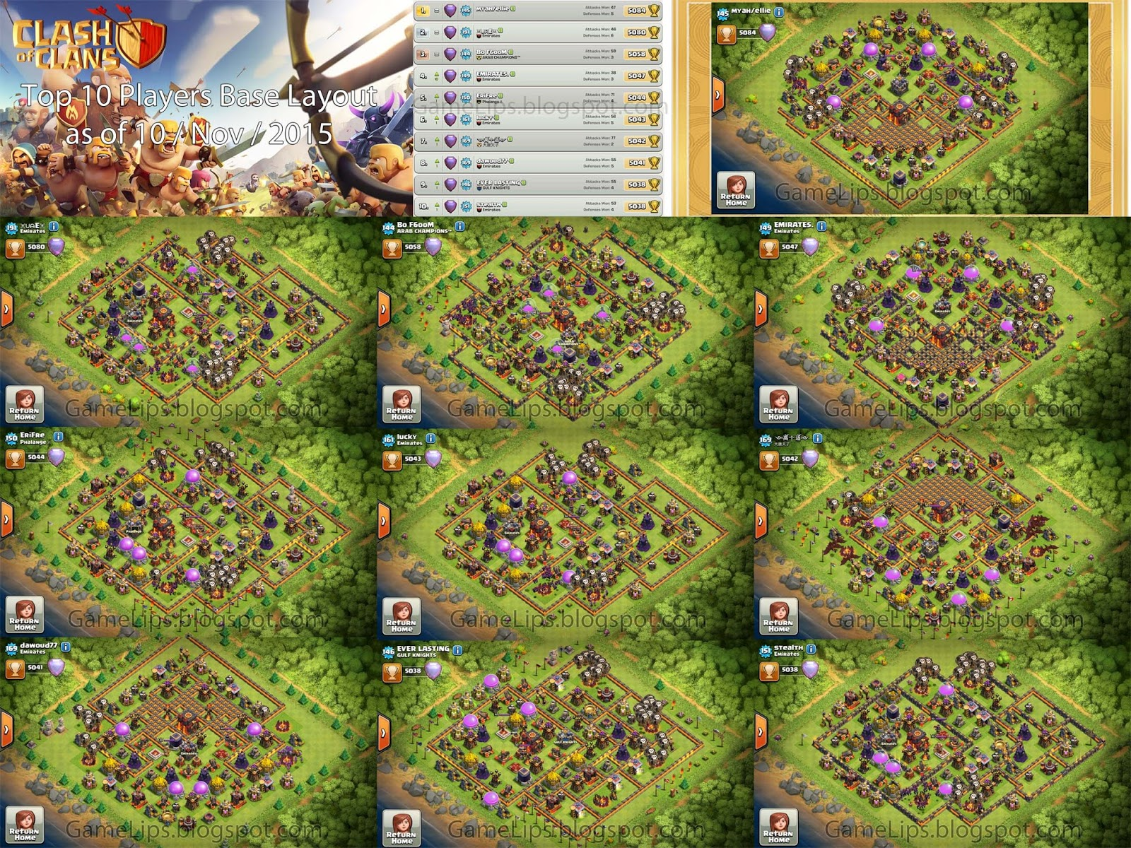 Clash of Clans - Top 10 Player Base Layout 2015 November