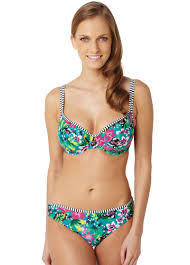 Panache Swim Elle Tropical Print Balconnet Bikini Top 34J and Classic Briefs 18