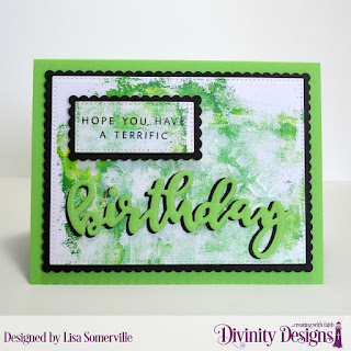 Divinity Designs Stamp/Die Duos: Birthday, Custom Dies: Pierced Rectangles, Scalloped Rectangles, Mixed Media Stencils: Circles