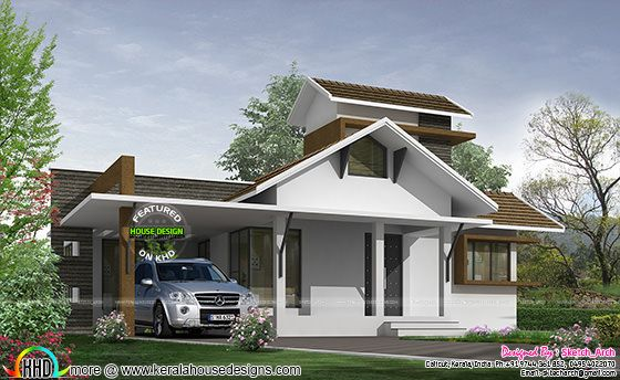 1450 square feet simple slop roof home plan