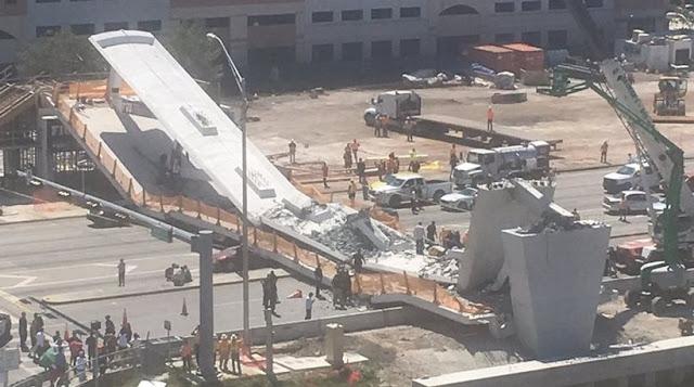 Τραγωδία στις ΗΠΑ: Κατέρρευσε πεζογέφυρα στο Πανεπιστήμιο του Μαϊάμι (βίντεο)