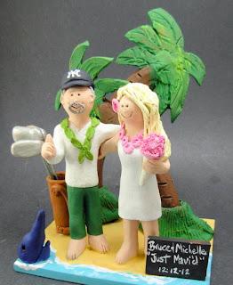 Custom Holiday Bride and Groom Figurines Hawaiian Wedding Cake Toppers