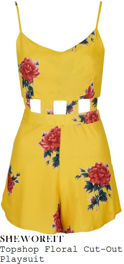 caroline-flack-topshop-yellow-red-green-floral-print-sleeveless-cut-out-waist-detail-playsuit