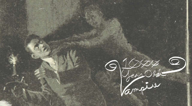 A vintage-appearing image of a vampire attacking a man