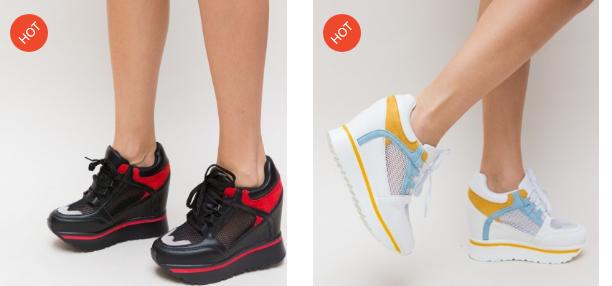 Adidasi cu platforma ascunsa negri, albi de primavara moderni ieftini