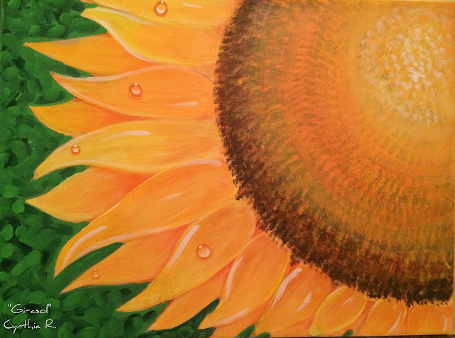 girasol, sunflower, pintura acrílica en canvas, acrylic painting on canvas,
