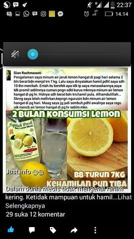 Testimoni Pengguna Sari Lemon Aqiilah Fresh - Mempercepat kehamilan