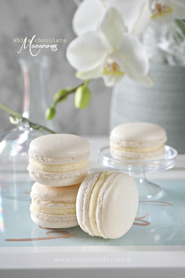 Macarons con ganache al cioccolato bianco ricetta - White chocolate macarons recipe come prepararli a casa homemade
