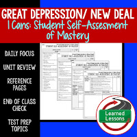 American History I Cans, Student Self-Assessment of Mastery, Great Depression and New Deal