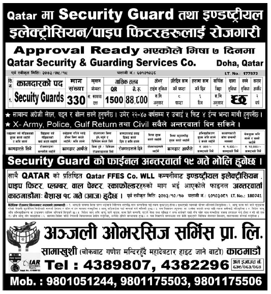 Jobs in Qatar for Nepali, salary Rs 44,800