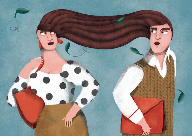 Ilustración pareja, enlace, viento, para calendario ilustrado 2016 - Lovers