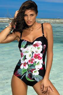 Costum de baie intreg cu push-up negru cu imprimeuri florale •