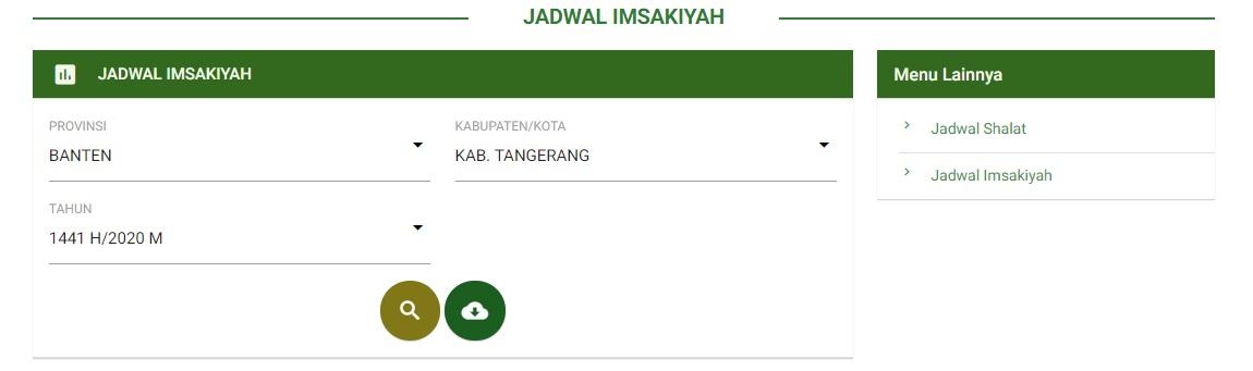 Jadwal Imsakiyah Puasa Ramadhan 1441H / 2020 Kabupaten Tangerang