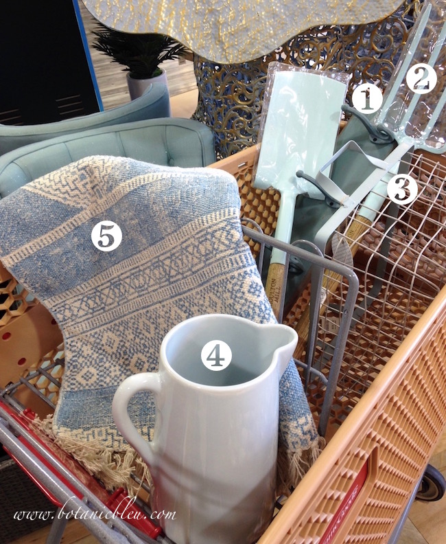 homegoods-shopping-cart-filled-with-items-to-create-potting-bench-in-coastal-colors