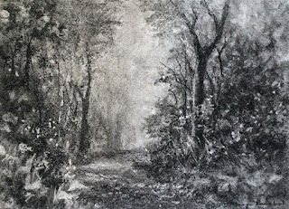 Charcoal drawing of a scene from Karnala Bird Sanctuary, by Manju Panchal