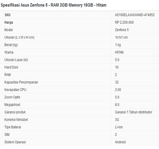 Jual Asus Zenfone 5