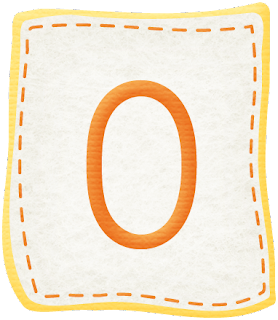 Abecedario Naranja en Parches de Tela. Orange Alphabet in Cloth Patches.