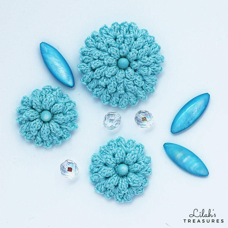 Crochet popcorn pendant and earrings - Lilah s Treasures