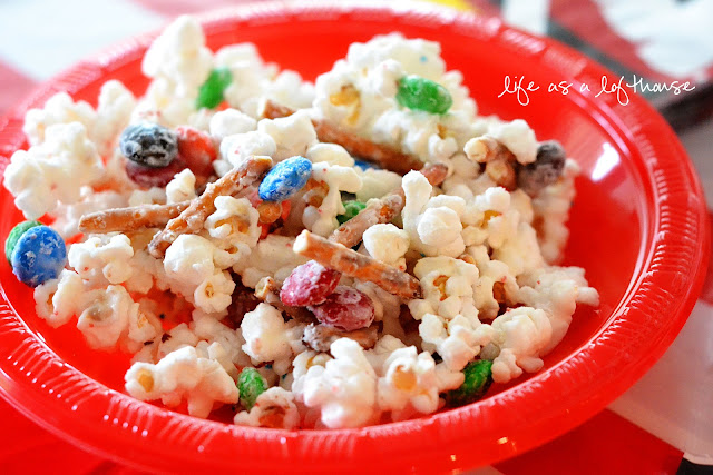 Party Popcorn is tender white popcorn that is covered in white chocolate and mixed with pretzels, M&M's and anything else you love. Life-in-the-Lofthouse.com