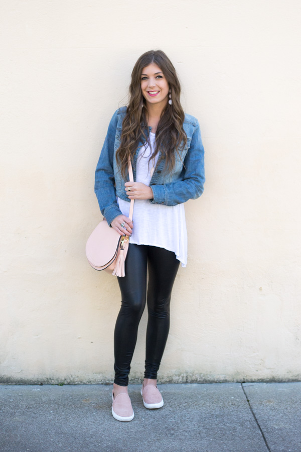 How To Wear Faux Leather Leggings This Spring by Charleston fashion blogger Kelsey of Chasing Cinderella