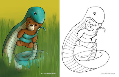 a cute snake coloring page