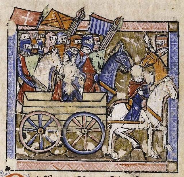 Josselin gravemente ferido conduz suas tropas em socorro de Faizum. Iluminura do século XIII.