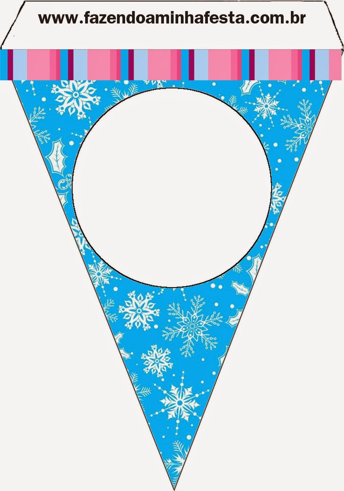 Para banderines para imprimir gratis de Frozen en Morado y Celeste para Navidad.