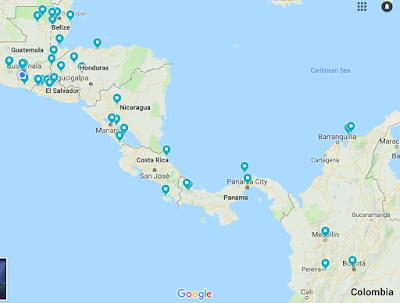 screenshot of Google Map of Central America