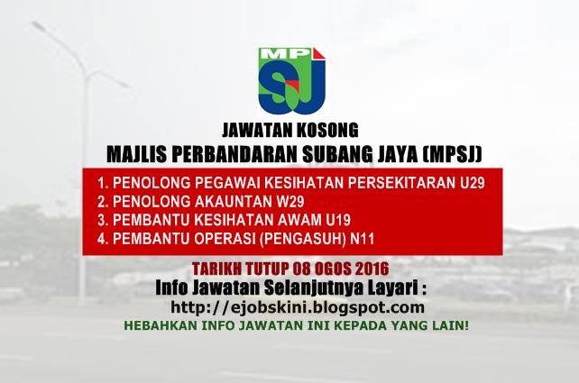 Jawatan Kosong Majlis Perbandaran Subang Jaya (MPSJ) Ogos 2016