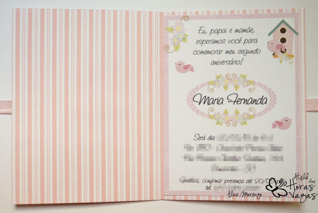 convite artesanal aniversário infantil passarinhos 1 aninho babê menina rosa floral