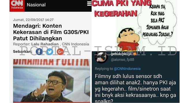 Mendagri: Konten Kekerasan di Film G30S/PKI Patut Dihilangkan, Netizen: Hanya PKI yang Kegerahan
