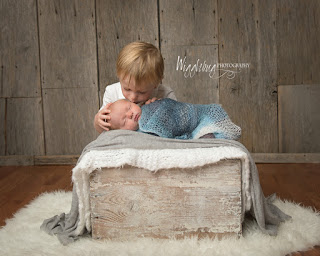 Newborn baby boy with older brother in the studio at Wigglebug Photography