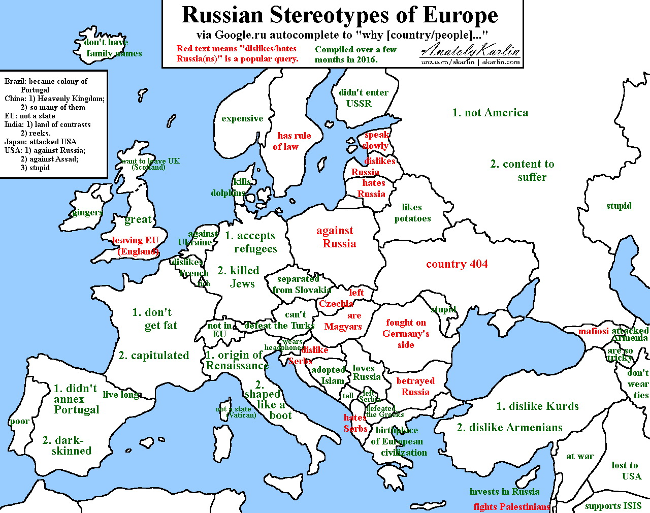 "Russian stereotypes of Europe via Google.ro autocomplete to ""why [country/people]..."""
